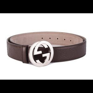 New GUCCI GG LOGO BROWN SILVER LEATHER BELT